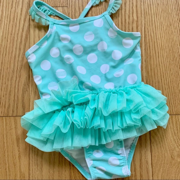 Circo Toddler Girls One Piece Floral Swimsuit w// Ruffle Front Sz 12M 18M  NWT